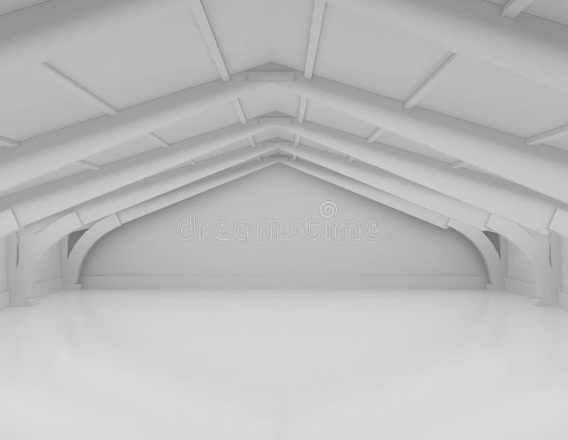 Interior blanco vacío moderno del almacén con el piso concreto reflexivo foto de archivo
