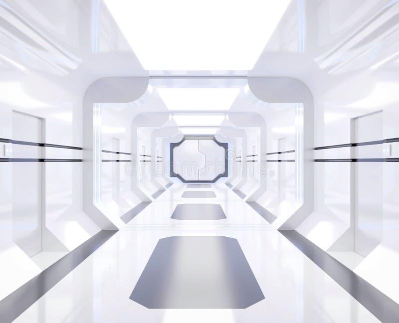 interior blanco y brillante con la visión, túnel, pasillo de la nave espacial de la representación 3D ilustración del vector