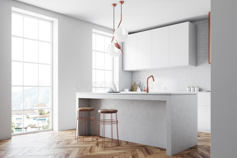 Interior blanco y de bronce de la cocina del desván ilustración del vector