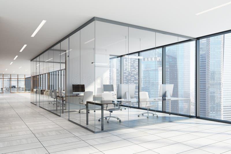 Interior blanco y de cristal de la oficina libre illustration