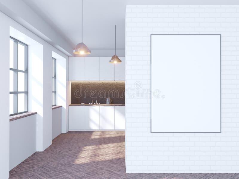Interior blanco y negro de la cocina del ladrillo con sobremesas blancas y una planta en conserva cerca de la pared ilustración d ilustración del vector