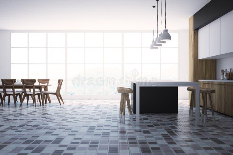 Interior blanco y negro de la cocina, tabla libre illustration