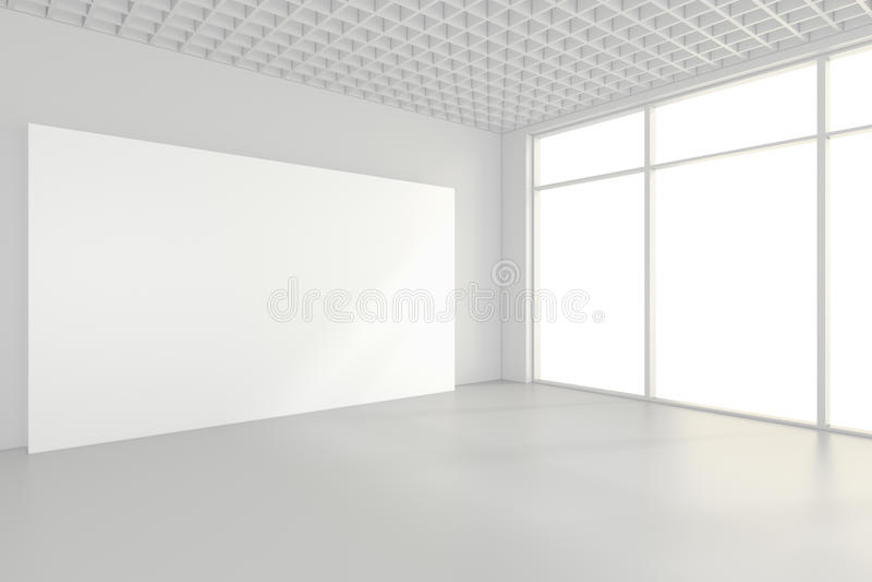 Interior blank billboards standing on floor in white room. 3d rendering royalty free stock images