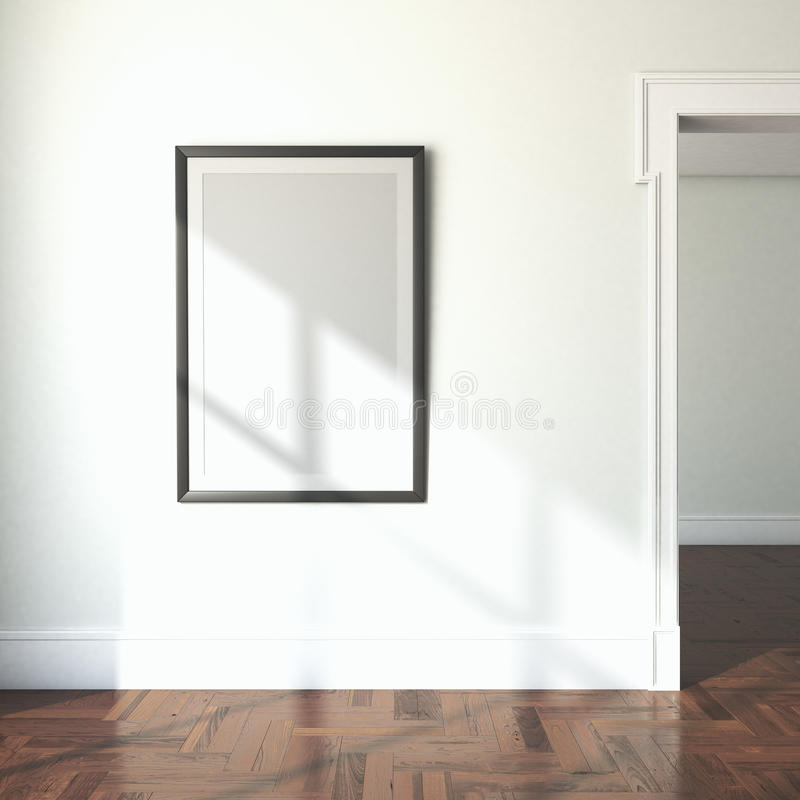 Interior with blank frame and doorway royalty free illustration