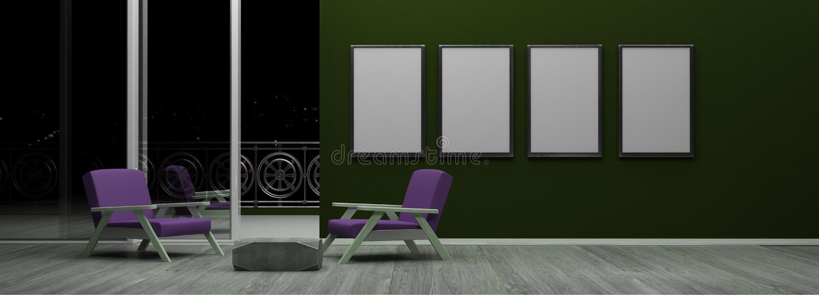 Interior with blank picture frames 3d render. Ing vector illustration