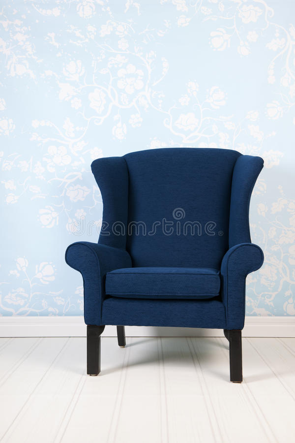 Interior blue room with armchair royalty free stock image