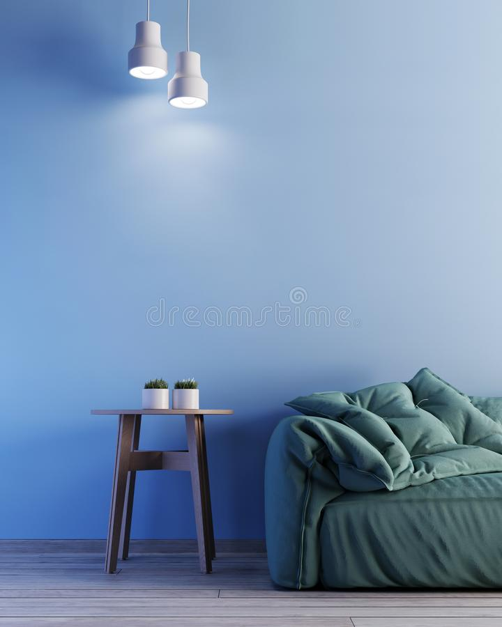 Interior with blue wall green armchair and wood side table vector illustration