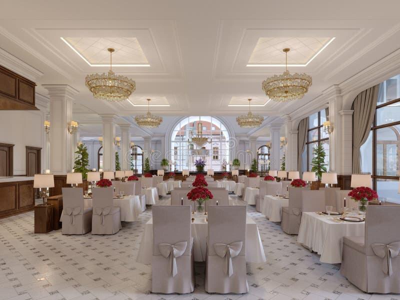 Interior bonito do restaurante em um hotel moderno com as tabelas brancas de pano e as cadeiras macias, servindo tabelas com rosa ilustração stock
