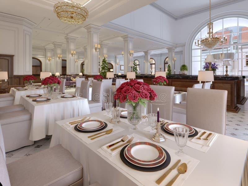 Interior bonito do restaurante em um hotel moderno com as tabelas brancas de pano e as cadeiras macias, servindo tabelas com rosa ilustração royalty free