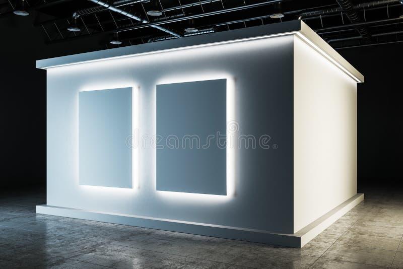 Interior branco à moda do salão de exposição ilustração do vetor