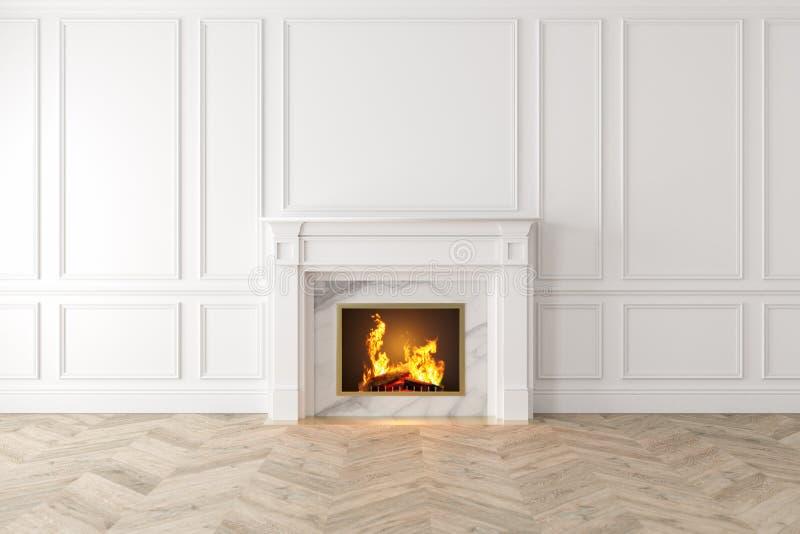Interior branco clássico moderno com chaminé, painéis de parede, assoalho de madeira ilustração do vetor