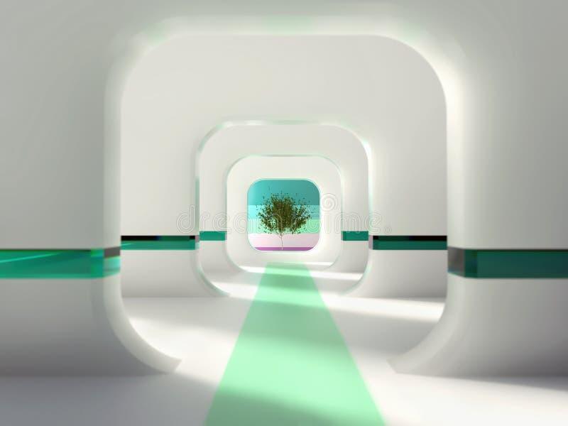 Interior branco com árvore verde ilustração do vetor