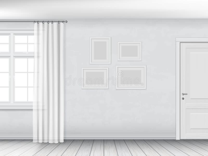Interior branco com janela e porta ilustração do vetor