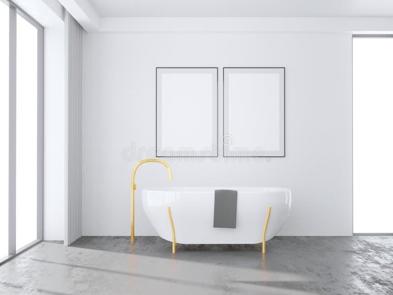 Interior branco com janelas panorâmicos, uma vista tropical do banheiro zombaria da rendição 3d acima da ilustração ilustração do vetor