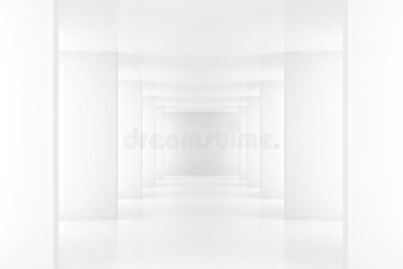 Interior branco com o corredor longo no espaço moderno ilustração do vetor