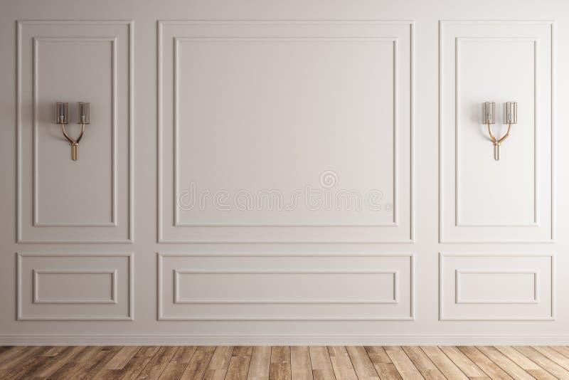 Interior branco com a parede branca vazia ilustração royalty free