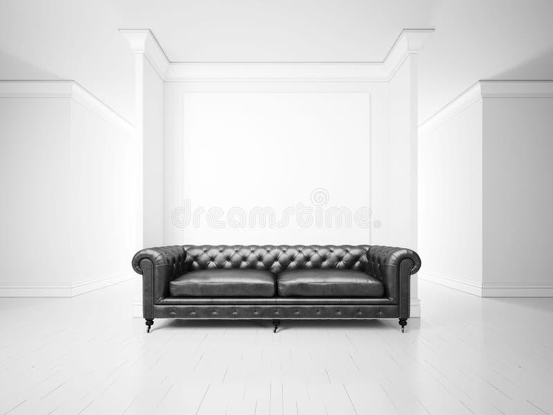 Interior branco com sofá e bandeira imagens de stock