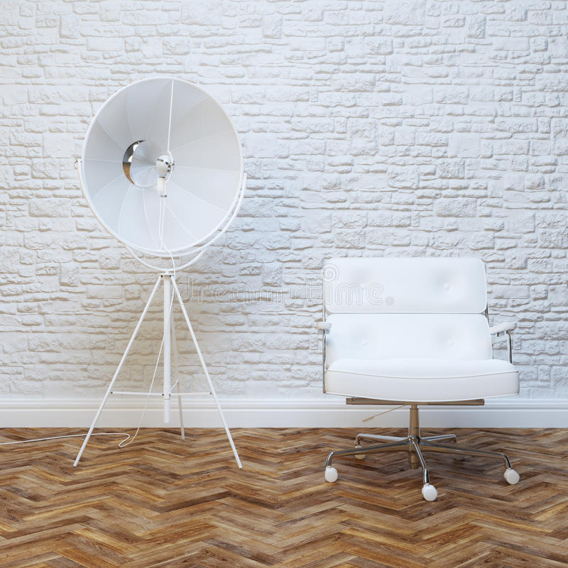 Interior branco da parede de tijolo com a poltrona do escritório do couro branco imagens de stock royalty free