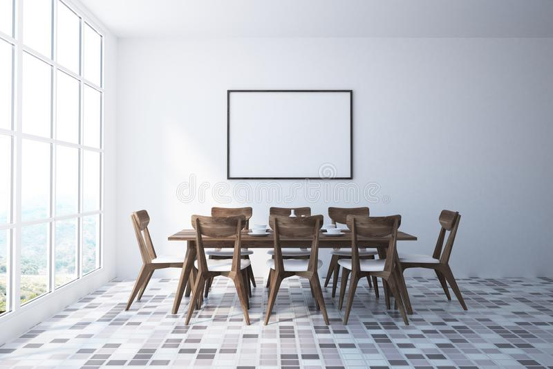 Interior branco da sala de jantar, cartaz, cadeiras de madeira ilustração royalty free