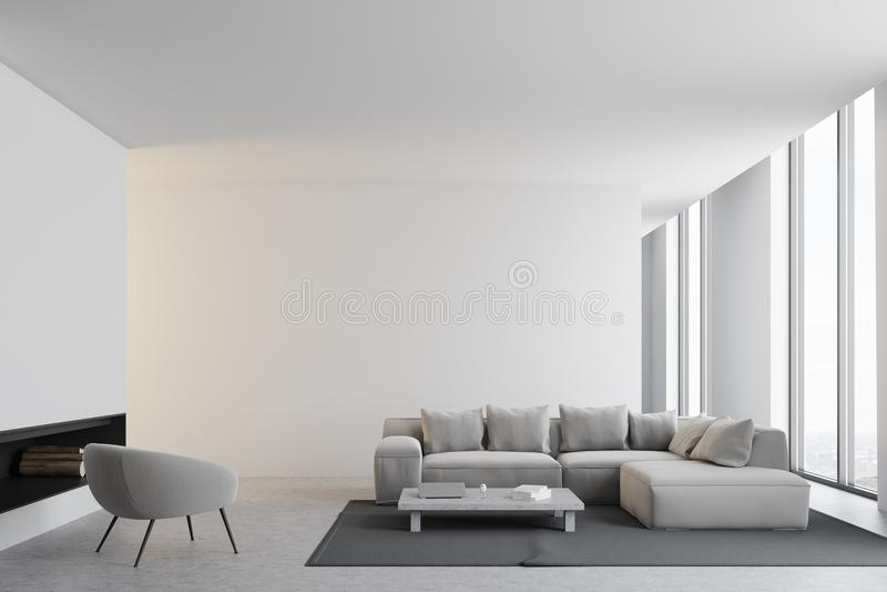 Interior branco da sala de visitas ilustração stock