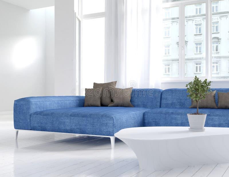 Interior branco da sala de visitas com sofá azul imagens de stock royalty free