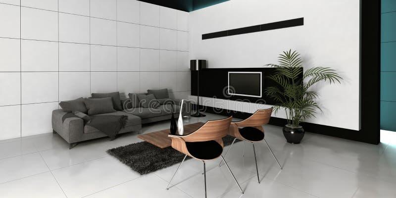 Interior branco da sala de visitas do projeto moderno imagens de stock royalty free