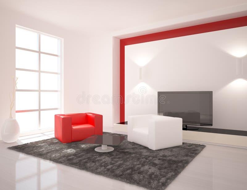 Interior branco do projeto moderno ilustração royalty free