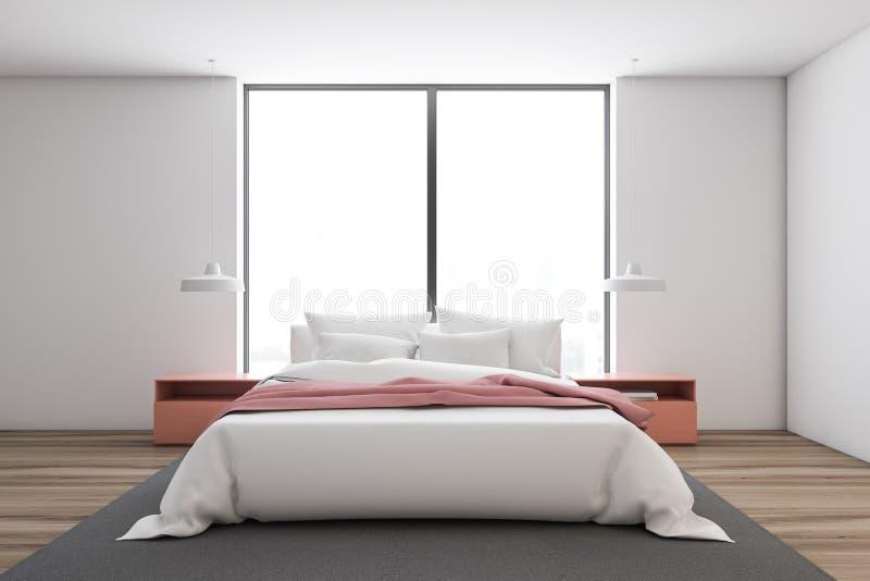 Interior branco do quarto principal com cama cor-de-rosa ilustração stock