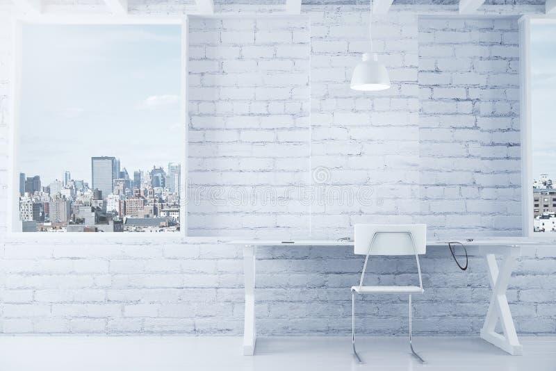 Interior branco do sótão com tabela, cadeira, parede de tijolo e janelas imagens de stock royalty free