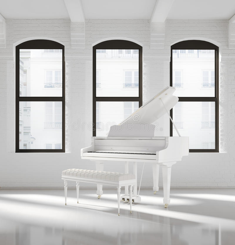 Interior branco do sótão com um piano branco imagem de stock