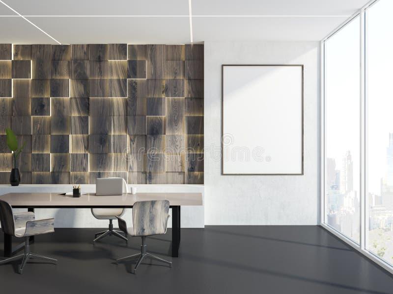 Interior branco e de madeira do escritório de gerente, quadro ilustração royalty free