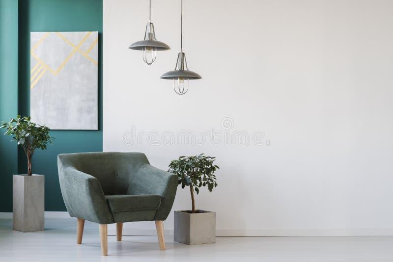 Interior branco e verde imagem de stock