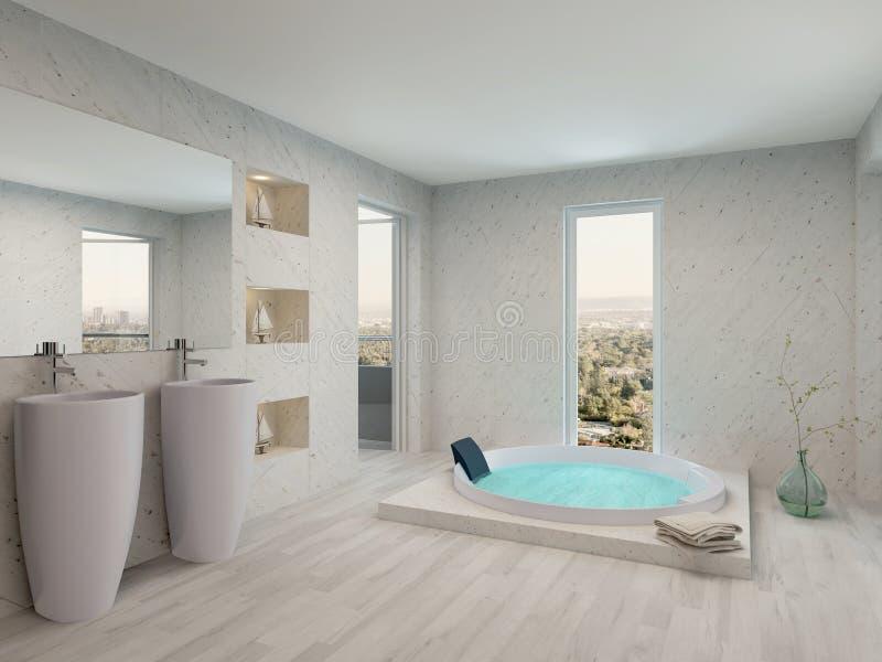 Interior branco limpo puro do banheiro com banheira ilustração royalty free