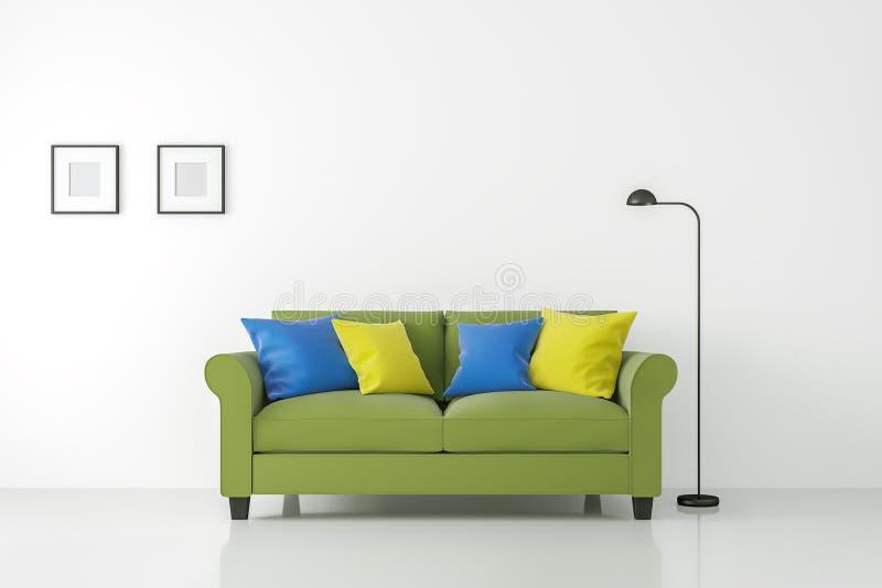 Interior branco moderno da sala de visitas com imagem colorida da rendição do sofá 3d ilustração do vetor