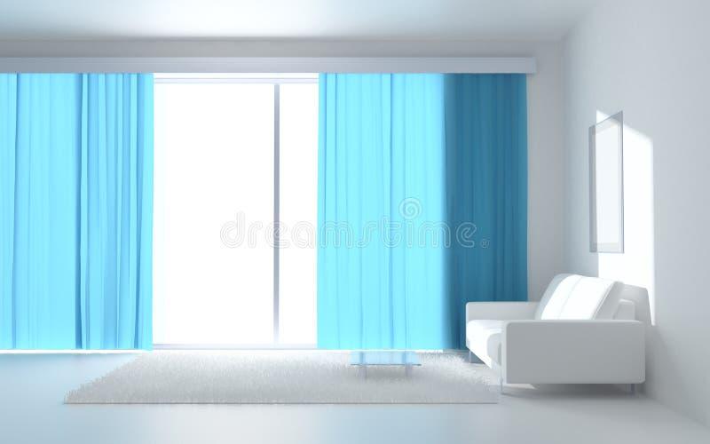 Interior branco sereno ilustração do vetor