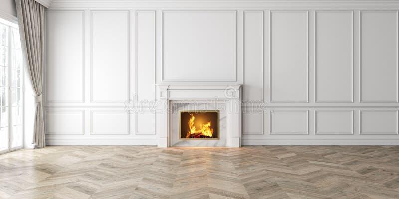 Interior branco vazio clássico com chaminé, cortina, janela, painéis de parede, ilustração do vetor