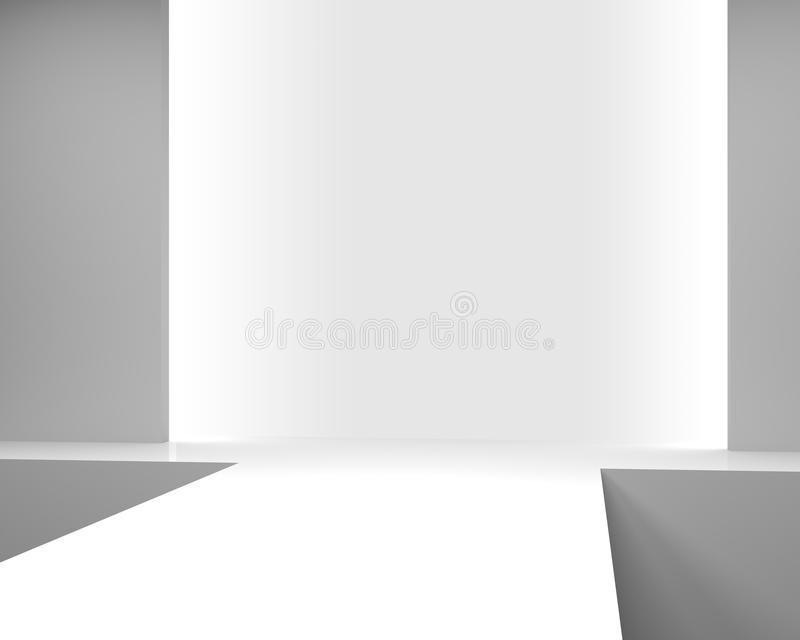 Interior branco vazio com um pódio para o desfile de moda ilustração stock