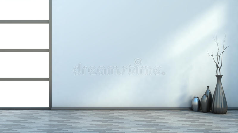Interior branco vazio com vasos ilustração royalty free