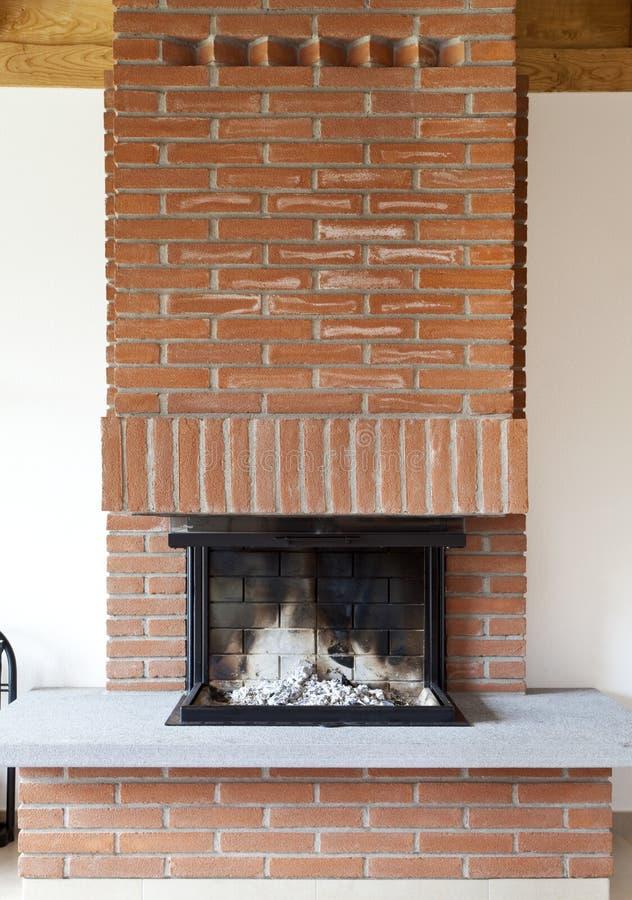 Interior, brick fireplace off stock photos