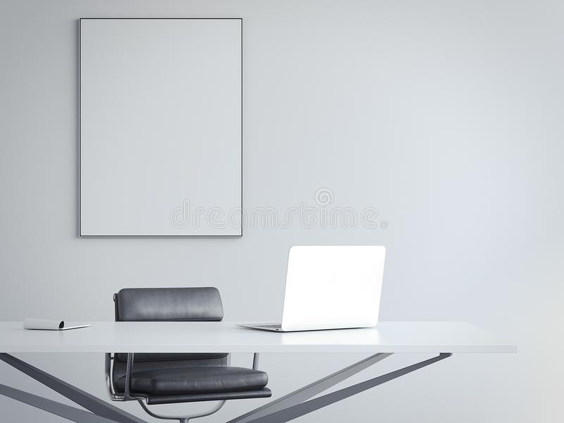 Interior brilhante do escritório com local de trabalho e moldura para retrato rendição 3d ilustração royalty free