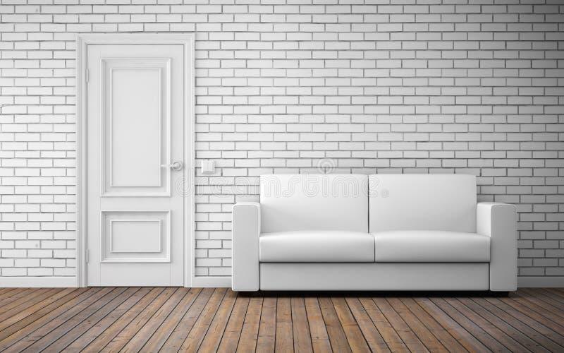 Interior brilhante moderno da sala rendição 3d ilustração stock