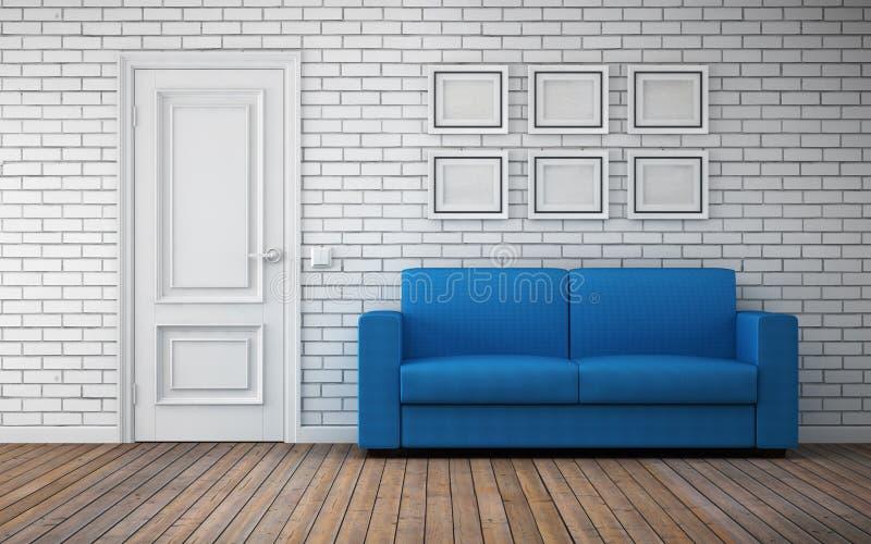 Interior brilhante moderno da sala rendição 3d ilustração do vetor