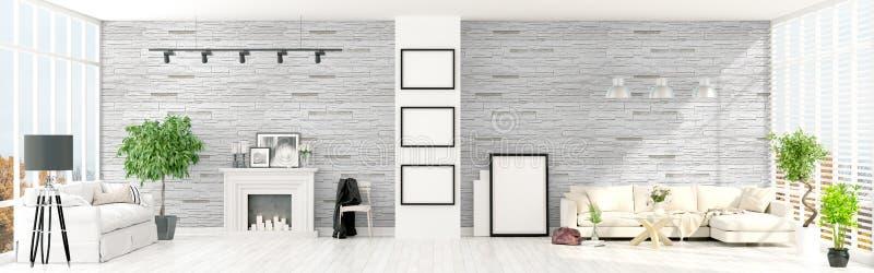 Interior brilhante moderno rendição 3d ilustração royalty free