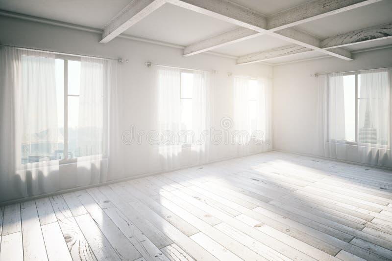 Interior brilhante vazio do sótão com janelas e luz solar ilustração stock