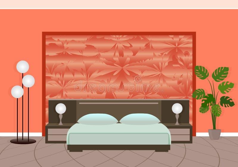 Interior brillante del dormitorio en colores rojos con el modelo complicado en el backwall ilustración del vector