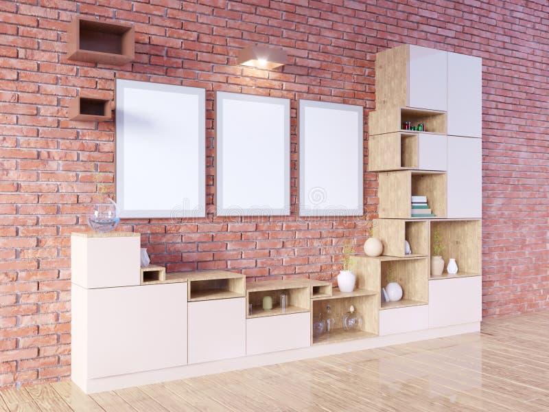 Interior brillante moderno con el marco vacío representación 3d Ilustración ilustración del vector