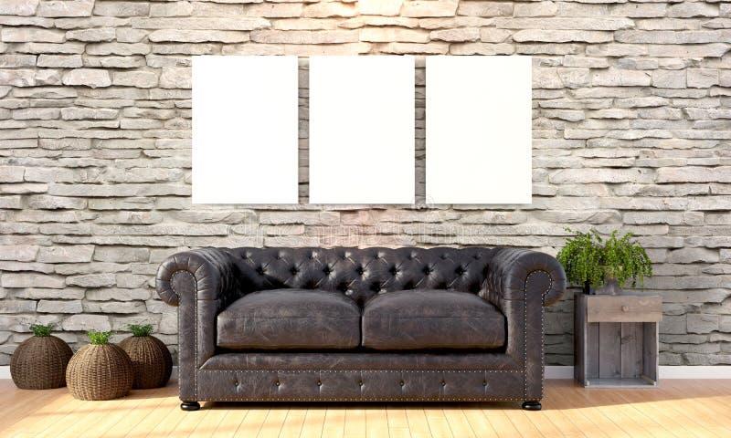 Interior brillante moderno 3d rinden fotografía de archivo libre de regalías