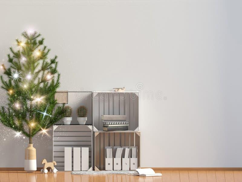 Interior brillante moderno de la Navidad, estilo escandinavo mofa de la pared para arriba ilustración 3D stock de ilustración
