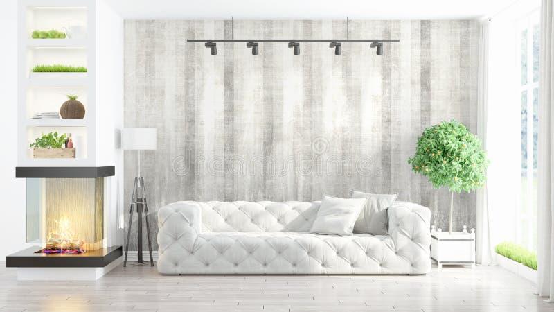 Interior brillante moderno representación 3d stock de ilustración