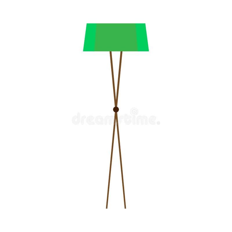 Interior brillante verde cómodo del concepto de la lámpara de pie Luz plana del icono del vector de moda del sitio stock de ilustración